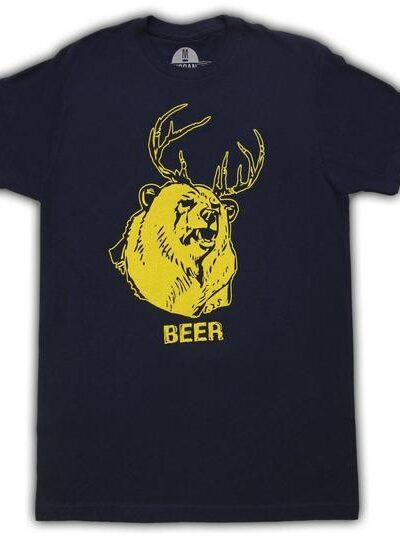 Beer Bear+Deer Mac Navy Adult T-shirt