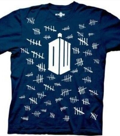 Doctor Who Tally Marks Navy Adult T-shirt