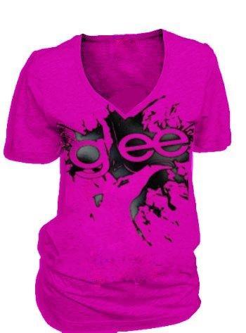 Glee Finger Splat Fuchsia V-Neck T-shirt