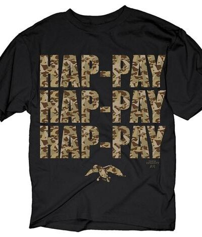 Hap-pay Hap-pay Hap-pay T-Shirt with Letters in Camo Print