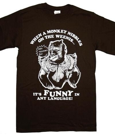 Monkey Nibbles on the Weenis Funny T-shirt
