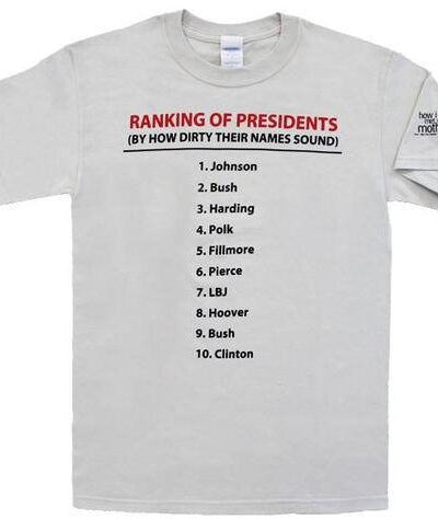 Presidents Ranking By Dirty Names T-Shirt