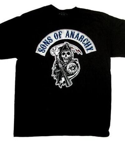 SOA Blue Logo Patch Reaper T-shirt