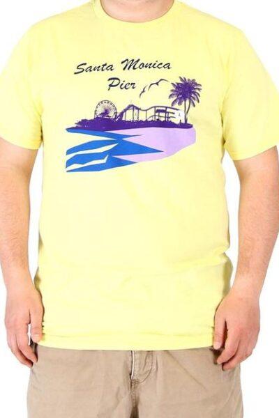 Santa Monica Pier Adult Yellow Mens T-Shirt