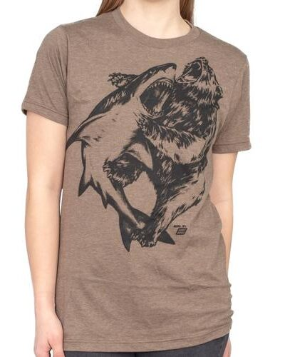 Shark vs. Bear Heather Brown Adult T-shirt