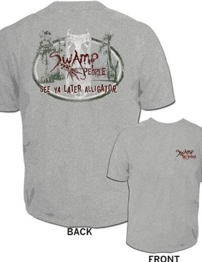 Swamp People See Ya Later Alligator Heather Gray Mens T-shirt