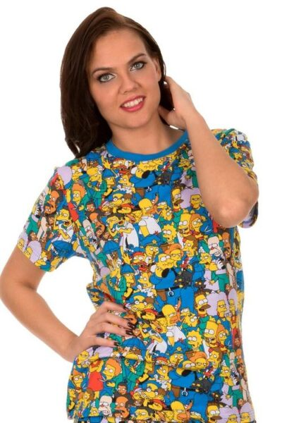 The Simpsons Springfield Multi Character Collage T-shirt Tee