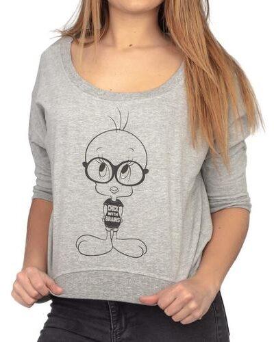 Tweety Bird Chick With Brains Cropped Sweatshirt