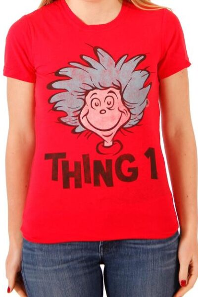 Dr. Seuss Thing 1 or Thing 2 Face Red T-shirt