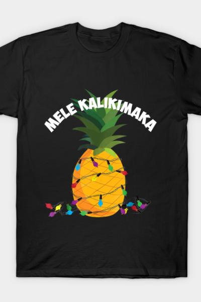 Mele Kalikimaka Shirt Hawaiian X-Mas Pineapple Lig T-Shirt