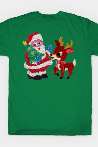 Santa & Rudolph Vintage Melted Plastic T-Shirt